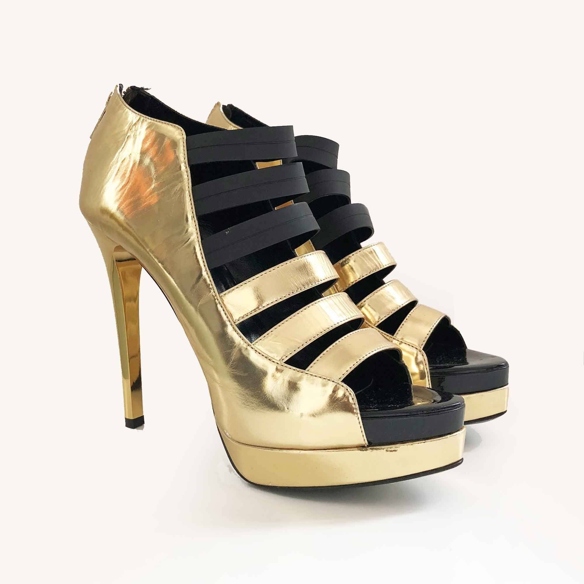 Ruthie Davis Gold and Black Strappy Bootie