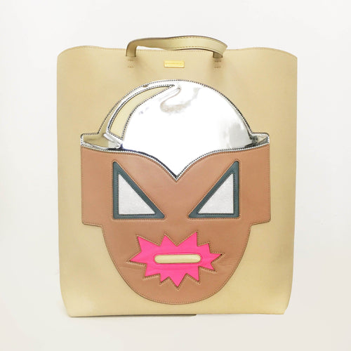Stella McCartney Superhero Structured Tote Bag Taupe