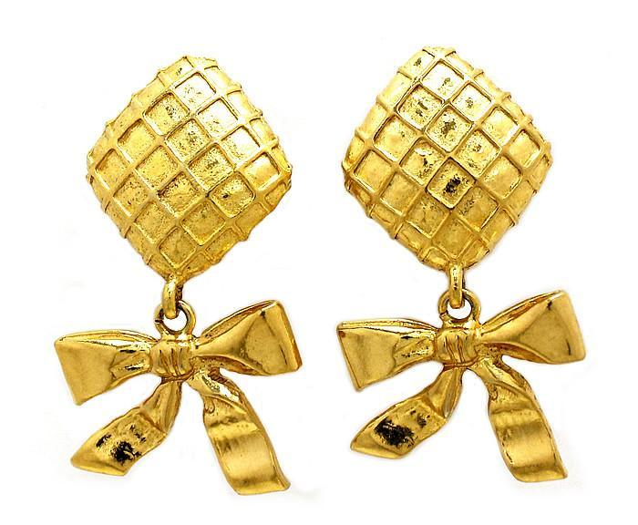 Vintage Drop Bow Earrings