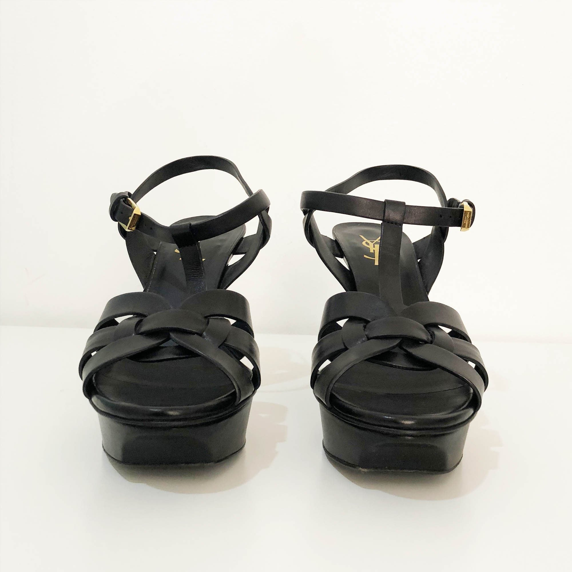 Saint Laurent Black Leather Tribute Sandal Heels