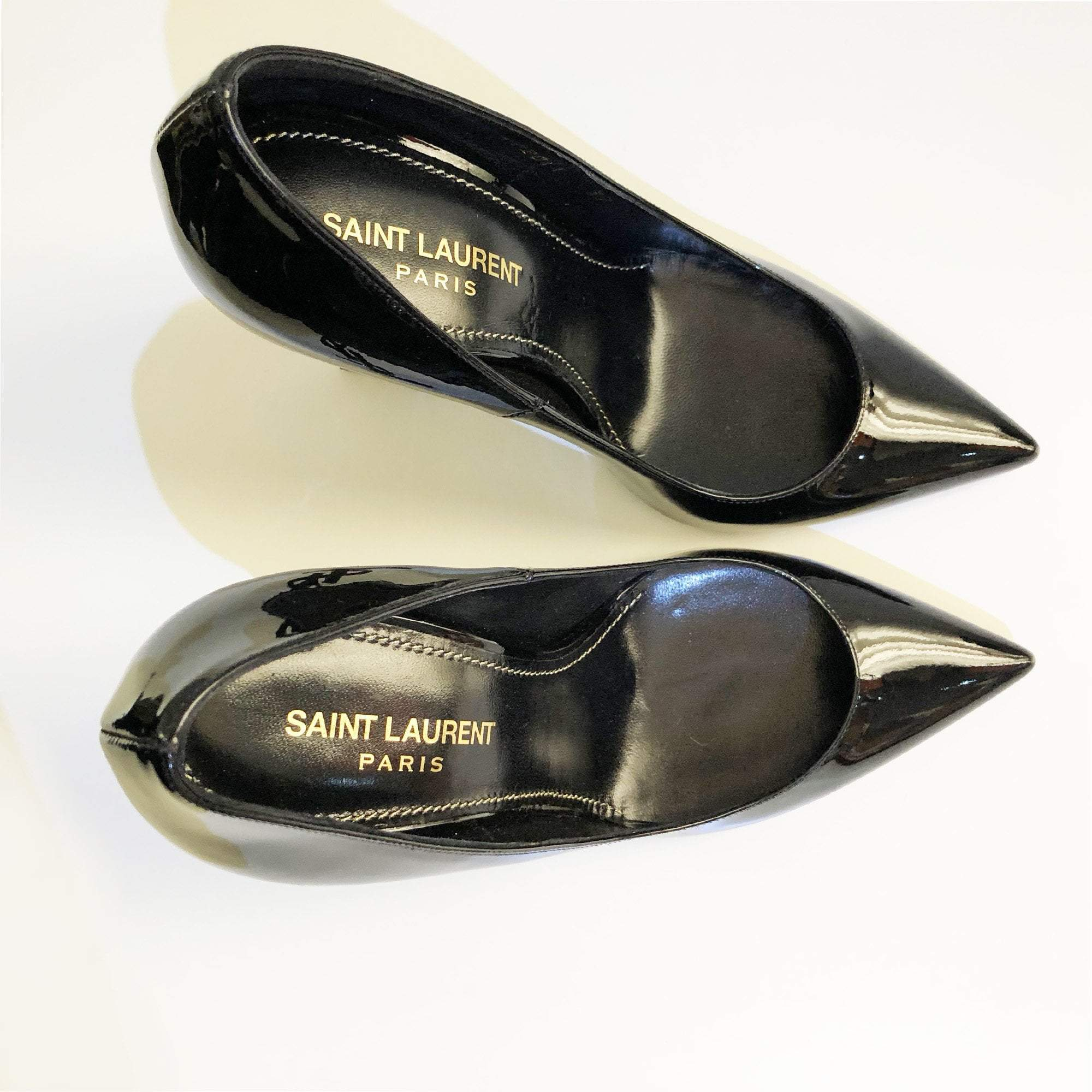 Saint Laurent Opyum 110 Pumps in Black Patent Leather and Chrome