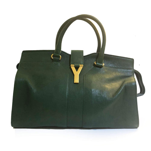 Saint Laurent Paris Green Leather Cabas Chyc Satchel