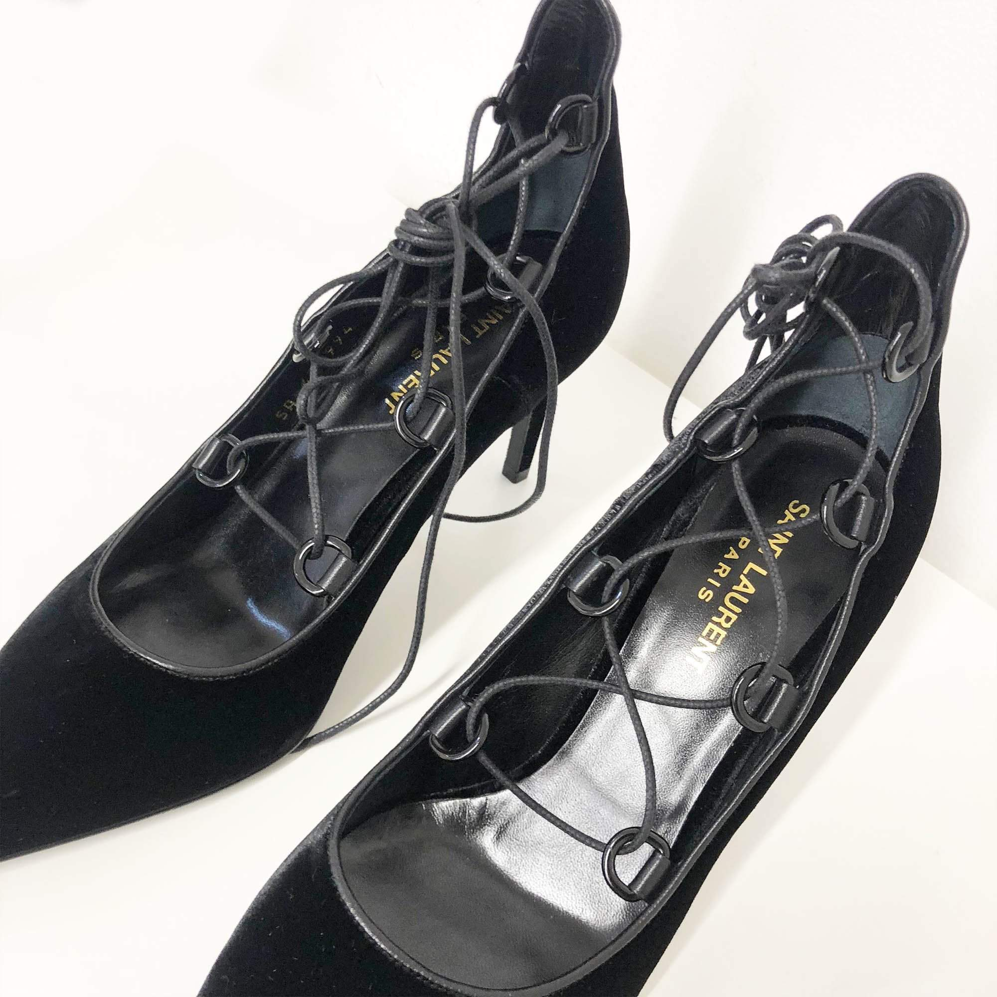 Saint Laurent Velvet Lace-up Pumps