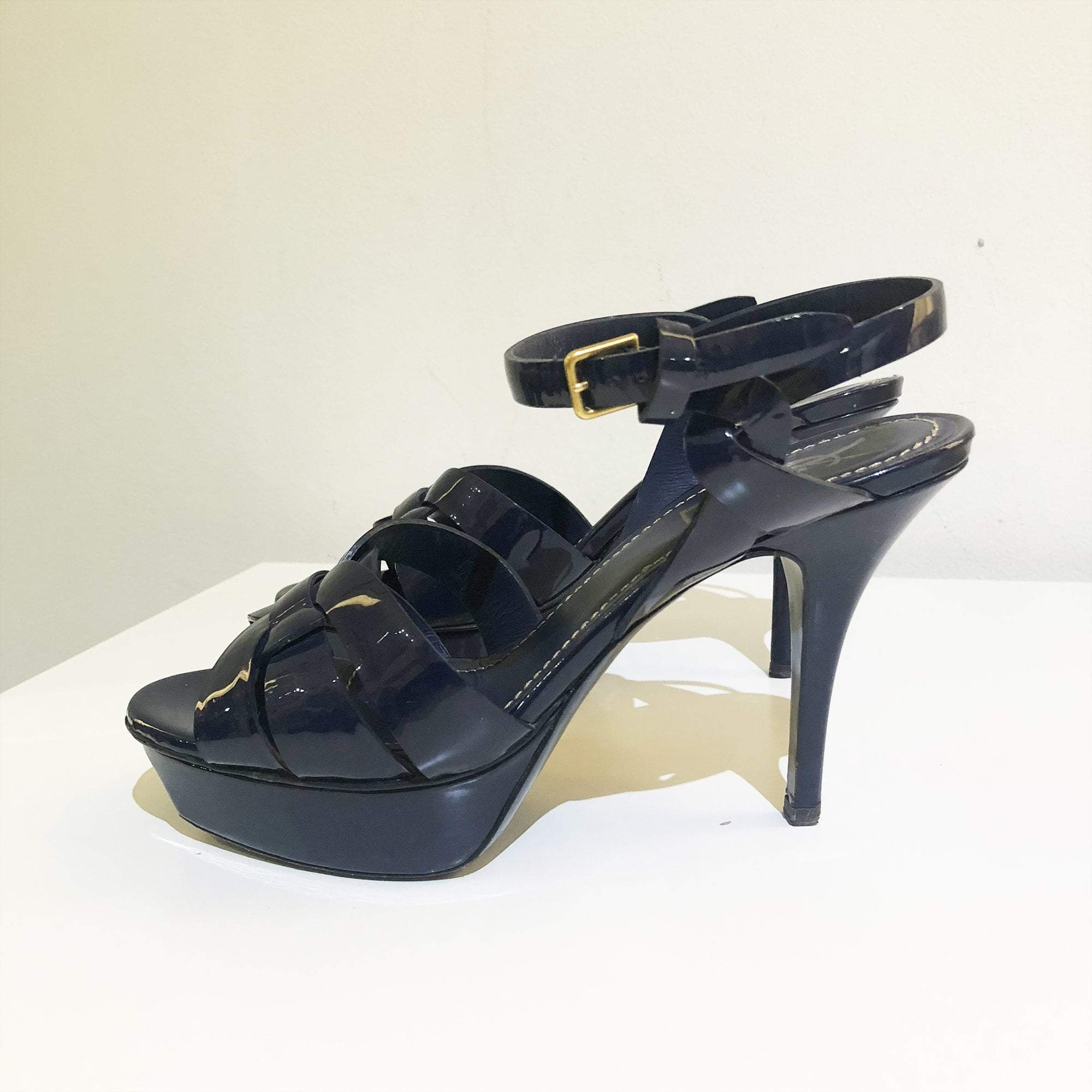 Saint Laurent Tribute Navy Blue Sandal Heels