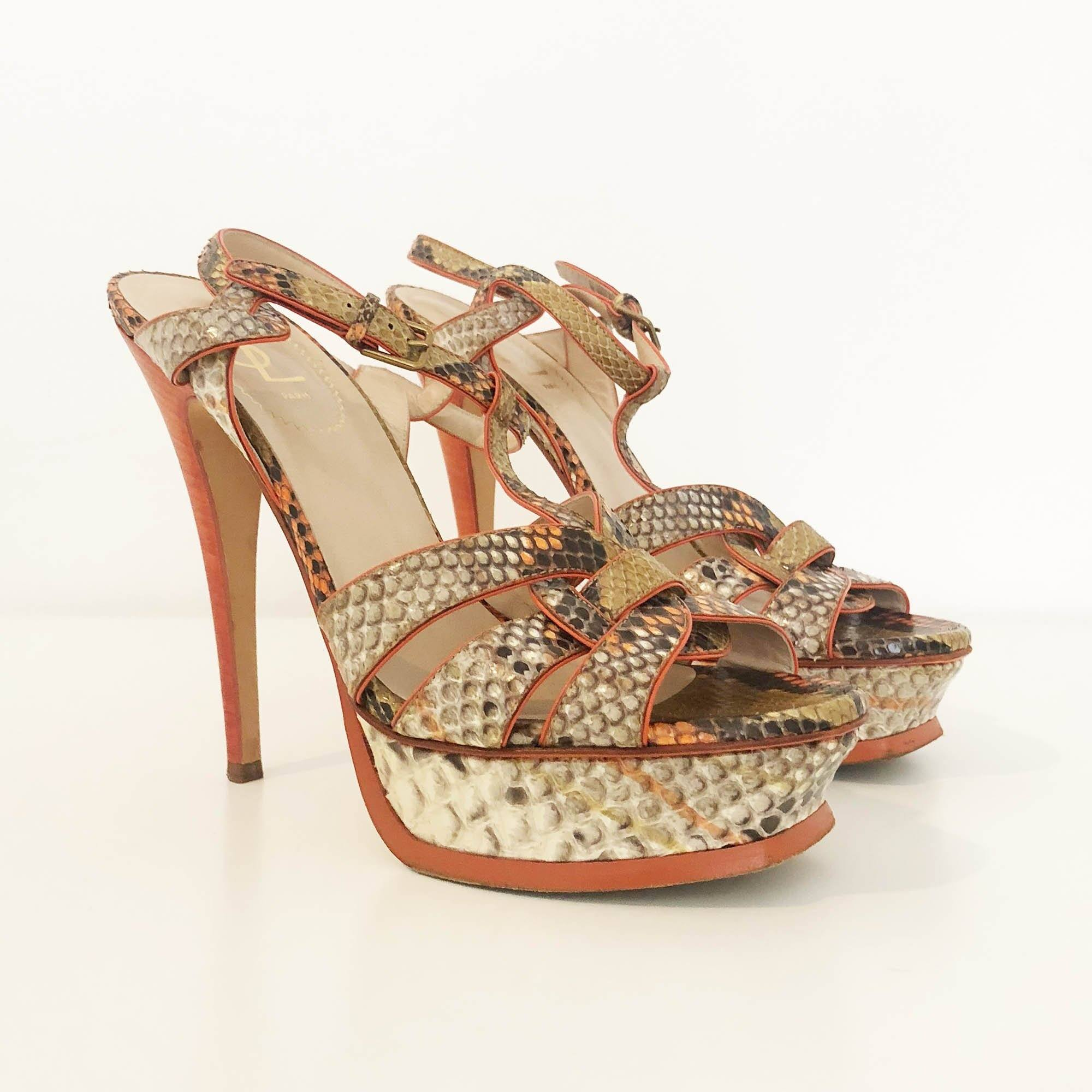 Saint Laurent Tribute Python Orange Sandal Heels