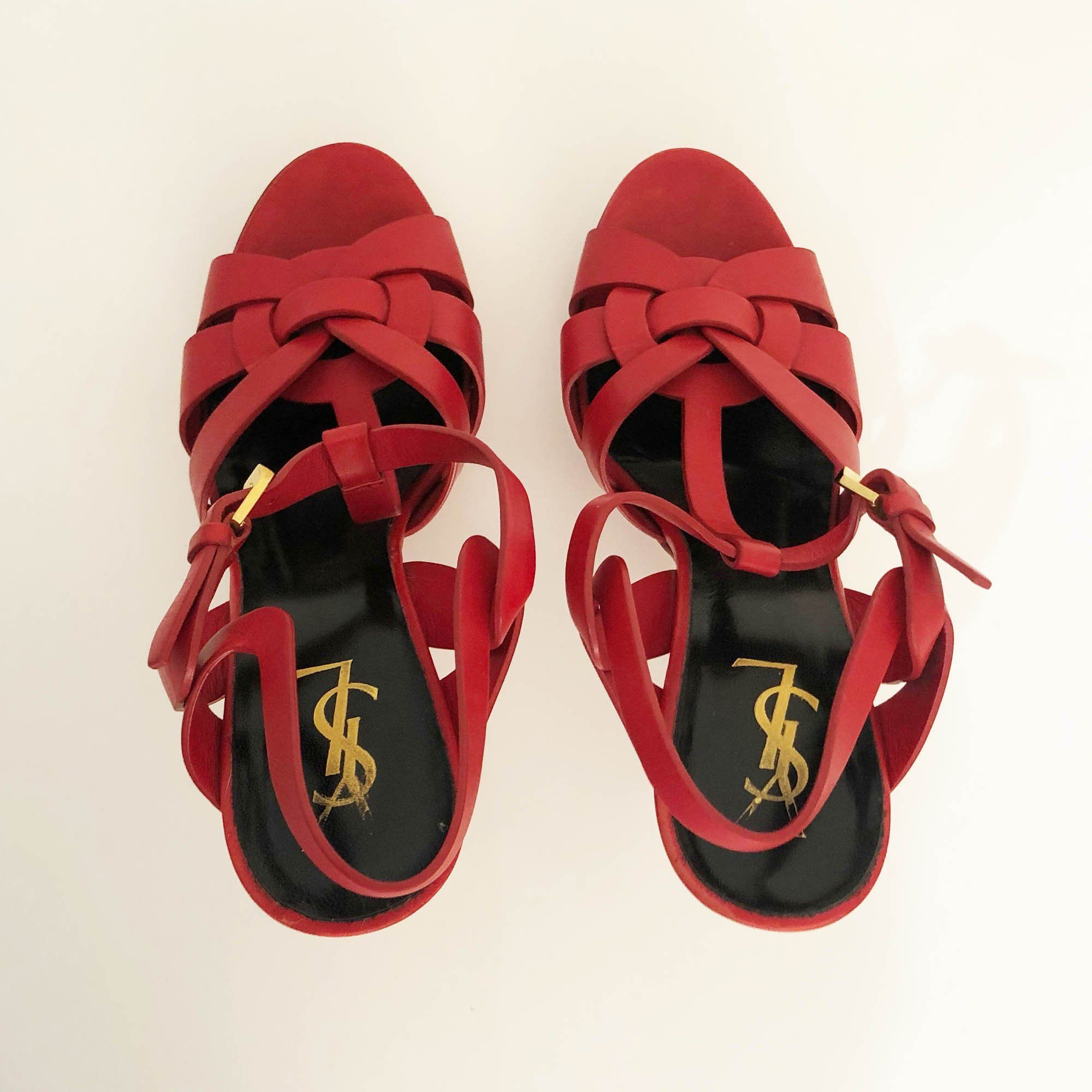 Saint Laurent Tribute Red Sandal Heels