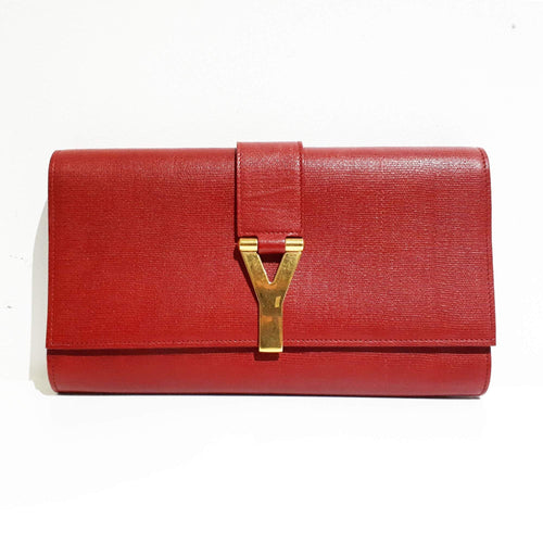 Saint Laurent Paris Red Leather Large Y Clutch Bag