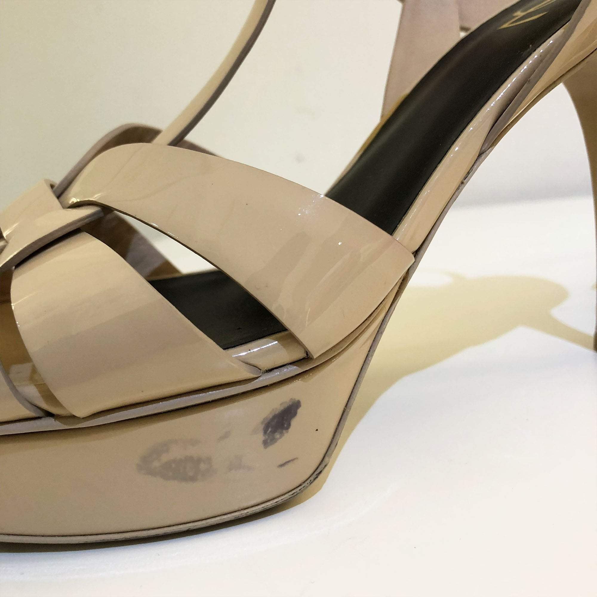 Saint Laurent Tribute Nude Sandal Heels