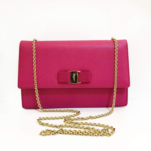 Salvatore Ferragamo Ginny Saffiano Shoulder Bag