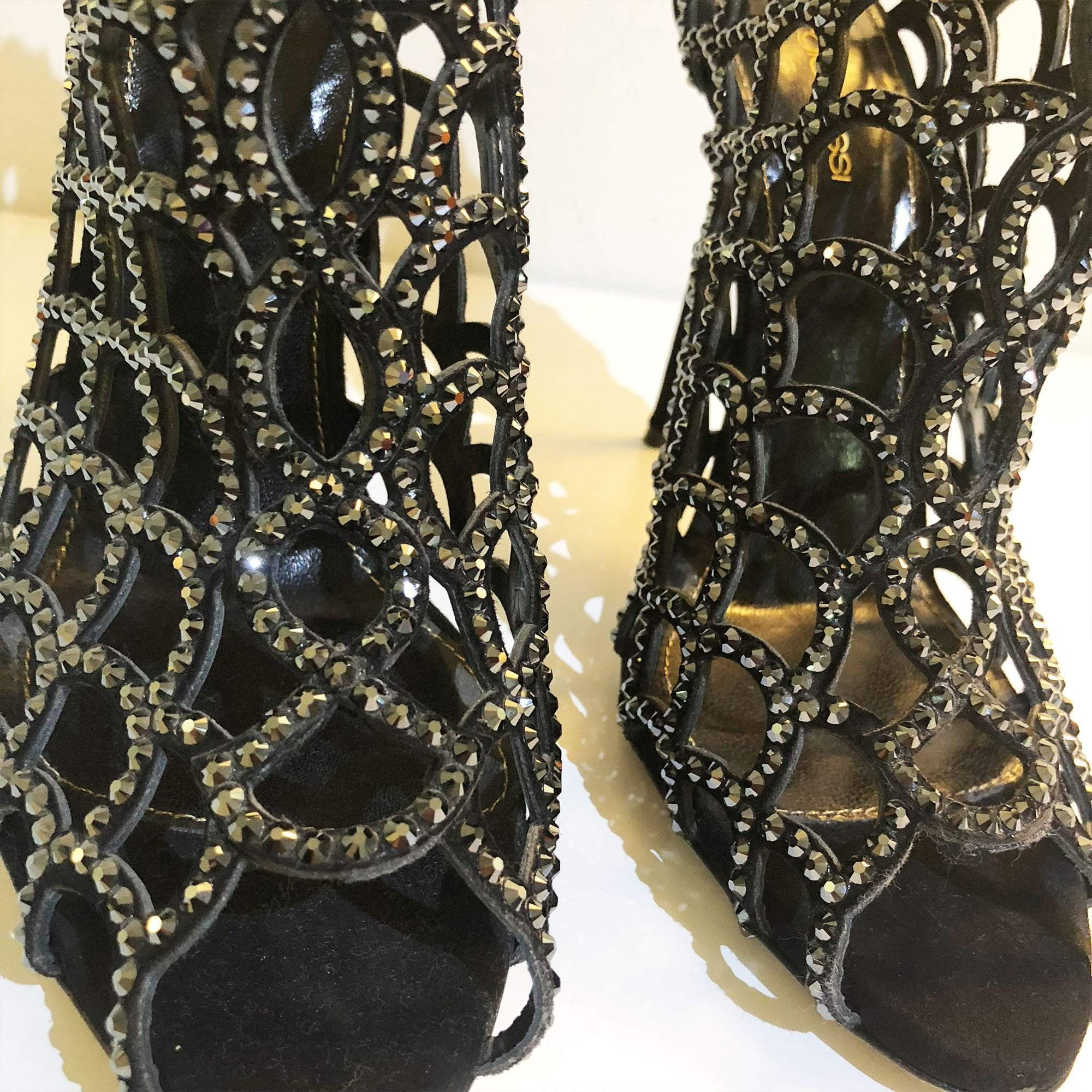 Sergio Rossi Black Swarovski Crystal Mermaid High Heel Caged Booties