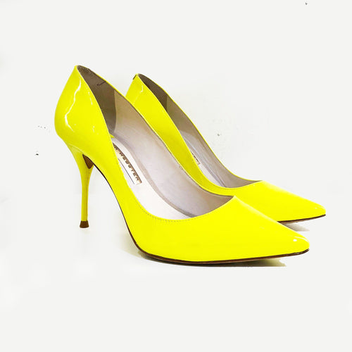Sophia Webster Yellow Patent Leather Pumps