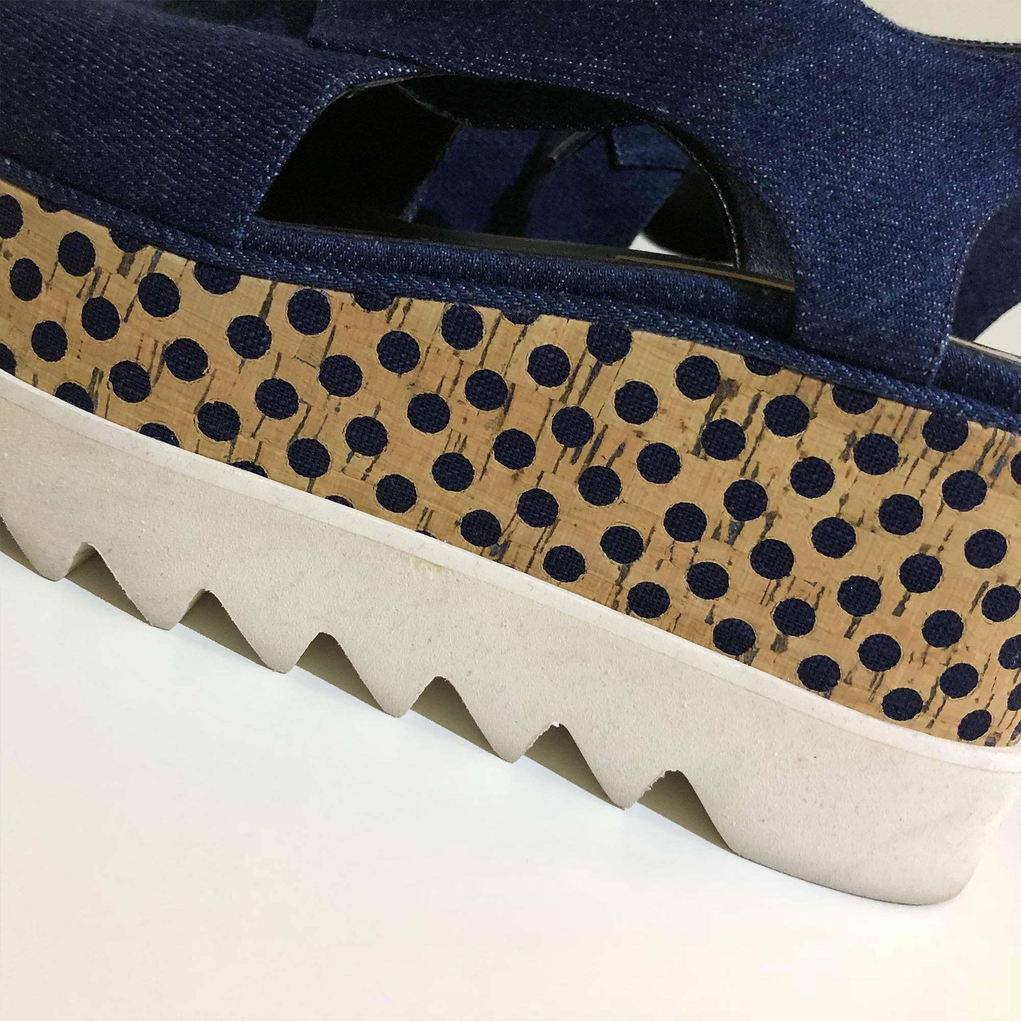 Stella McCartney 'Elyse' Denim Polka Dot Wedge Platform Derbies