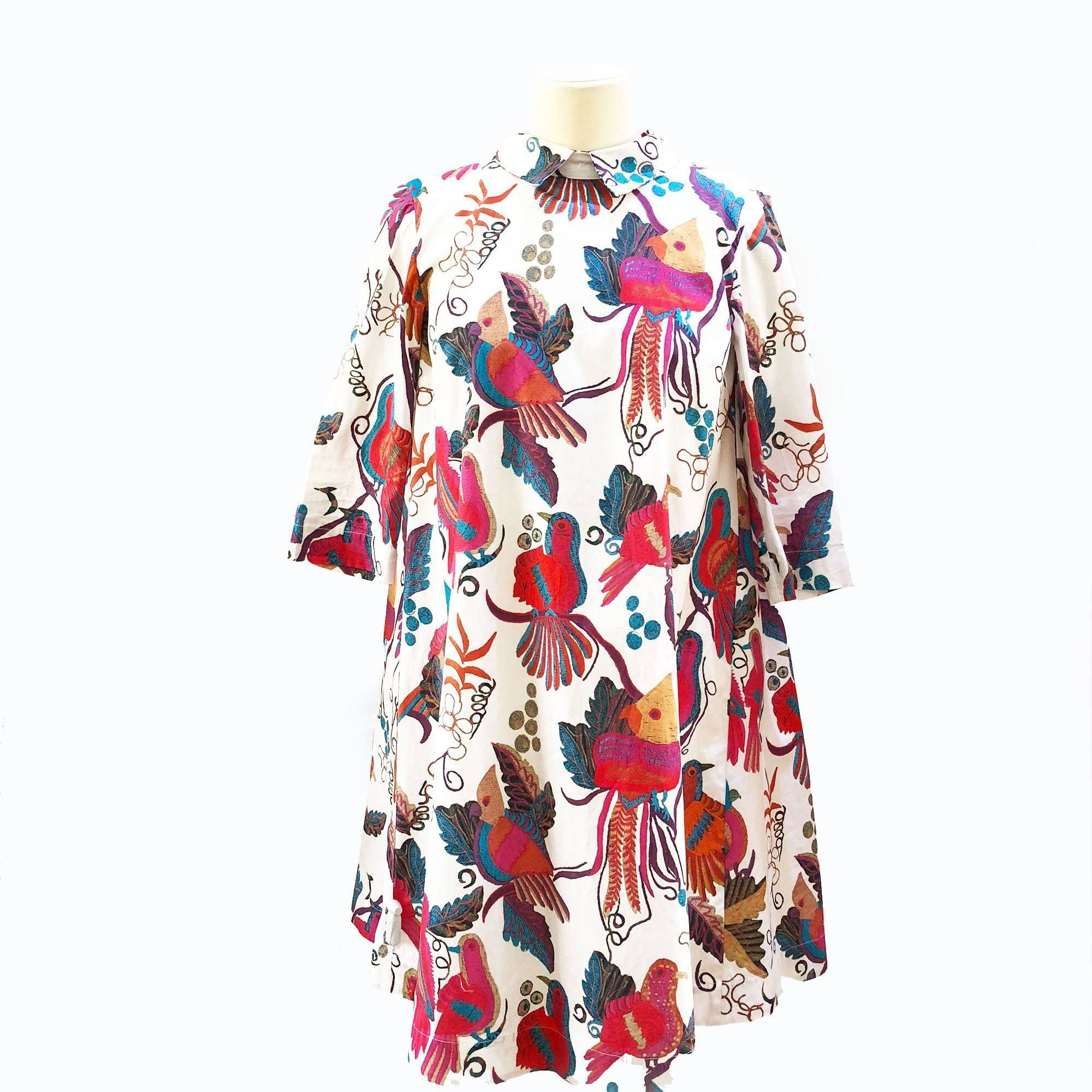 Stella Jean Multicolor Scrittore Bird-Print Cotton Dress