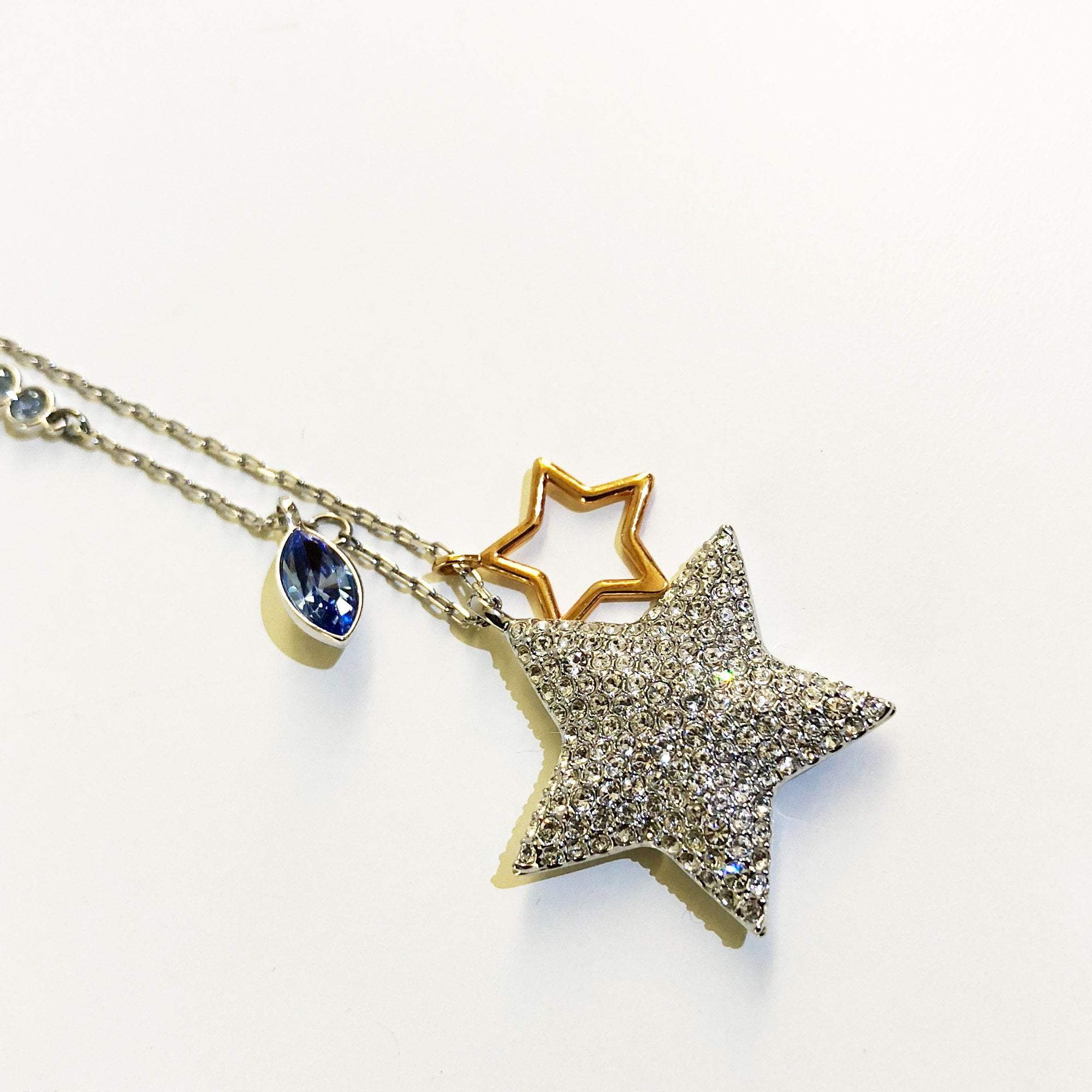 Swarovski Gold Rhodium Plated Crystal Pave Double Star Pendant Necklace