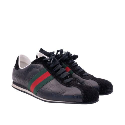 Gucci Black Leather Suede GG Green/Red Stripes Sneakers