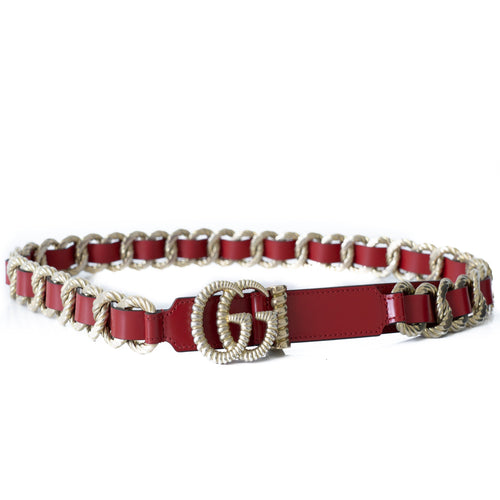 Gucci GG Red Leather and Gold Chain Link Belt