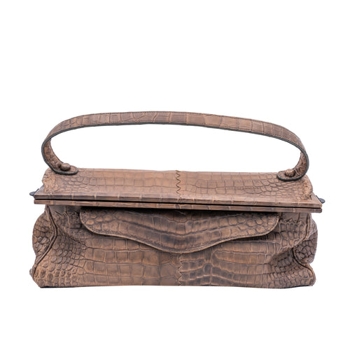 Bottega Veneta  Light Brown Crocodile Frame Bag