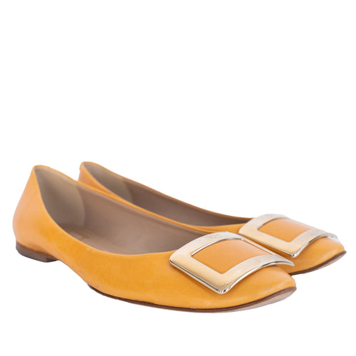 Roger ViVier Yellow Leather Ballet Flat