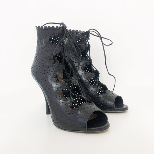 Tabitha Simmons Bonai Perforated Leather Lace Up Booties