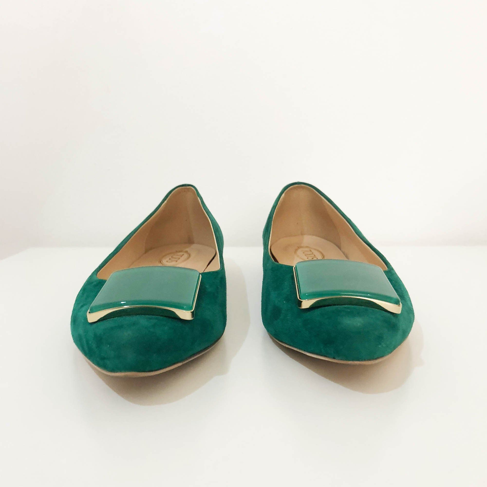 Tods Green Suede Pointed Toe Flats