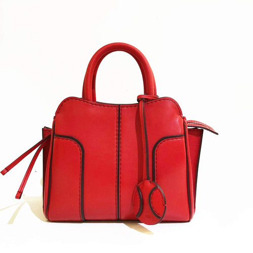 Tod's Sella Small Red Leather Tote