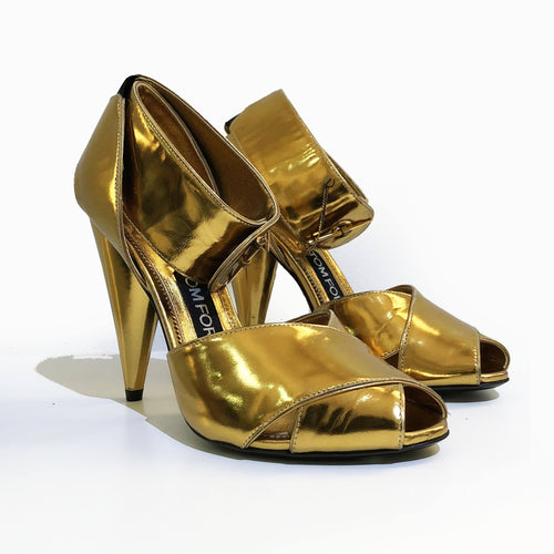 Tom Ford Gold Criss-Cross Ankle Cuff Sandal Heels