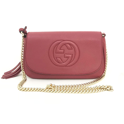 Gucci Soho Medium Flap Pink Leather Crossbody Bag