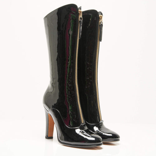 Valentino Black Patent Leather Zip Detail Mid Calf Boots