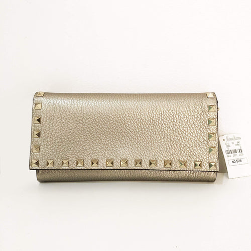 Valentino Bronze Textured Leather Rockstud Clutch