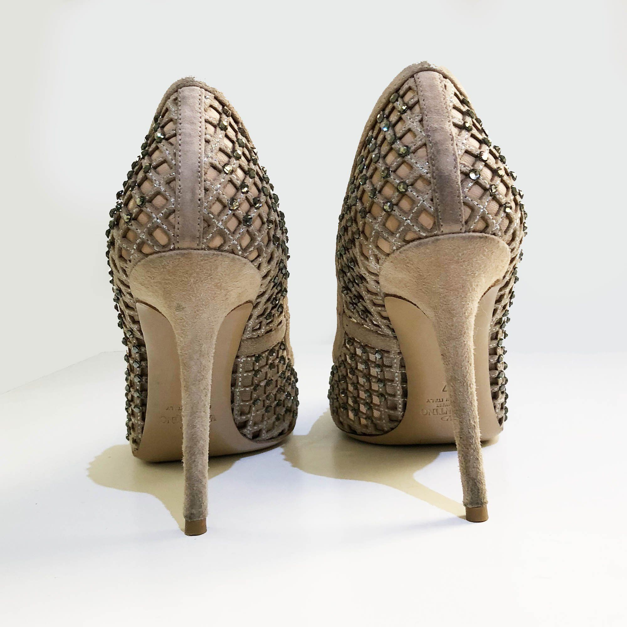 Valentino Crystal Embellished Mesh and Suede Pumps