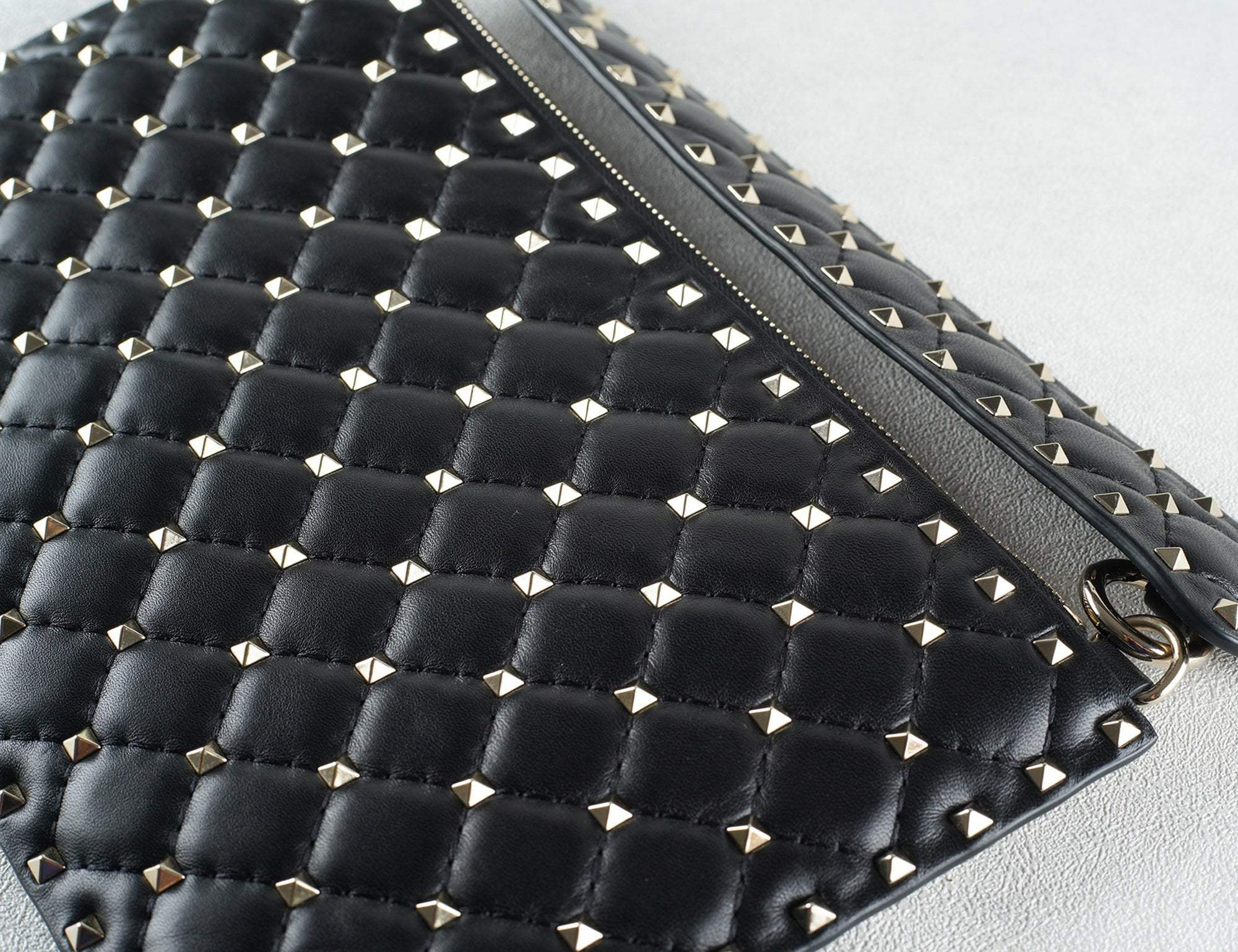 Valentino Flat Black Leather Pyramid Rockstud Clutch