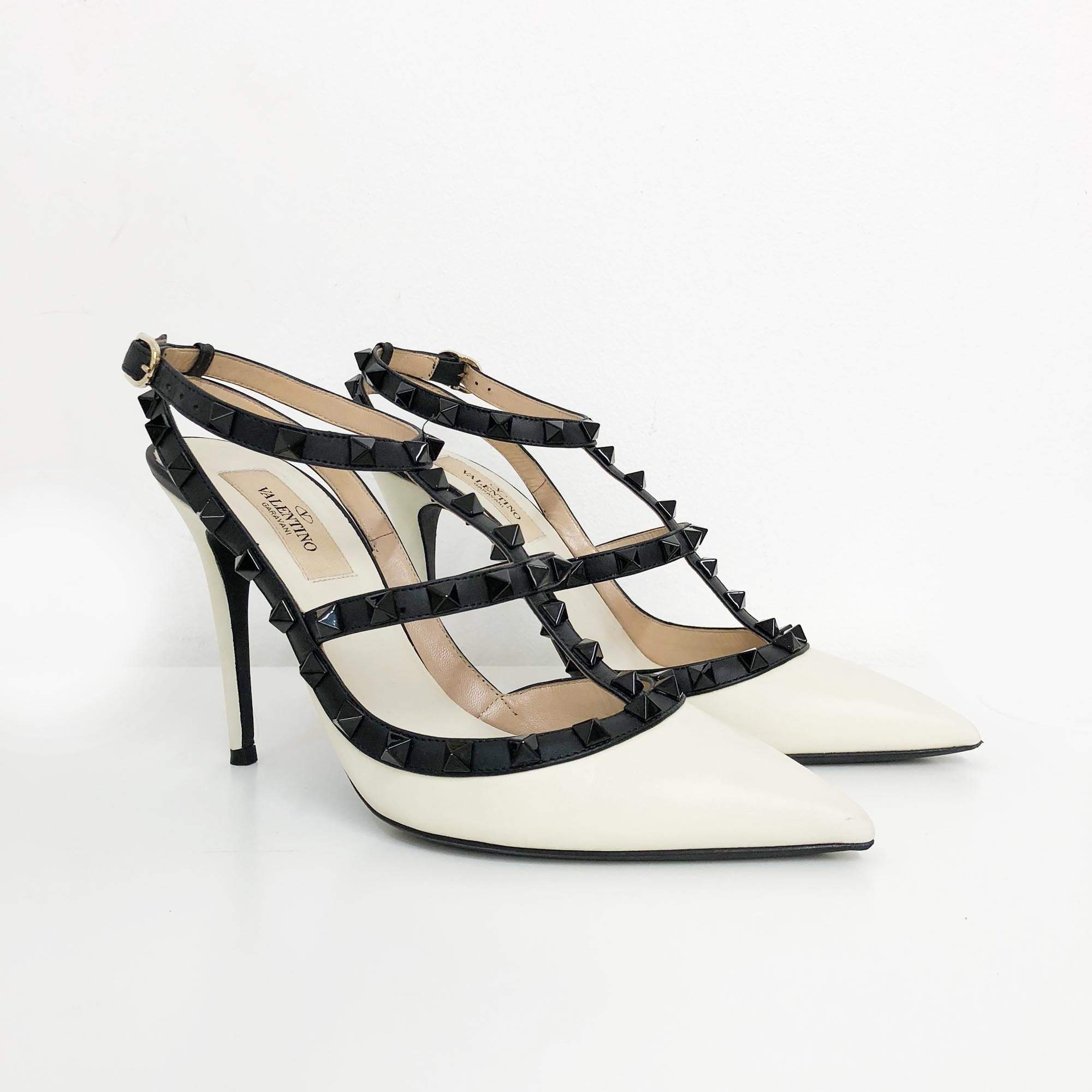 Valentino Garavani Rockstud Black and White Pumps