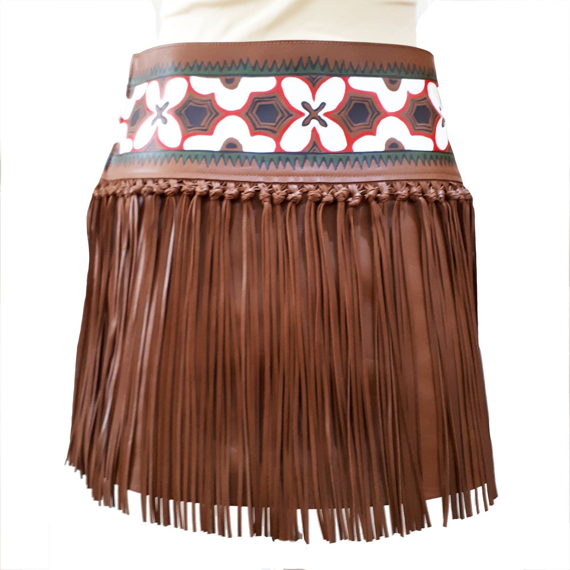 Valentino Knotted Fringe Leather Tan Mini Skirt