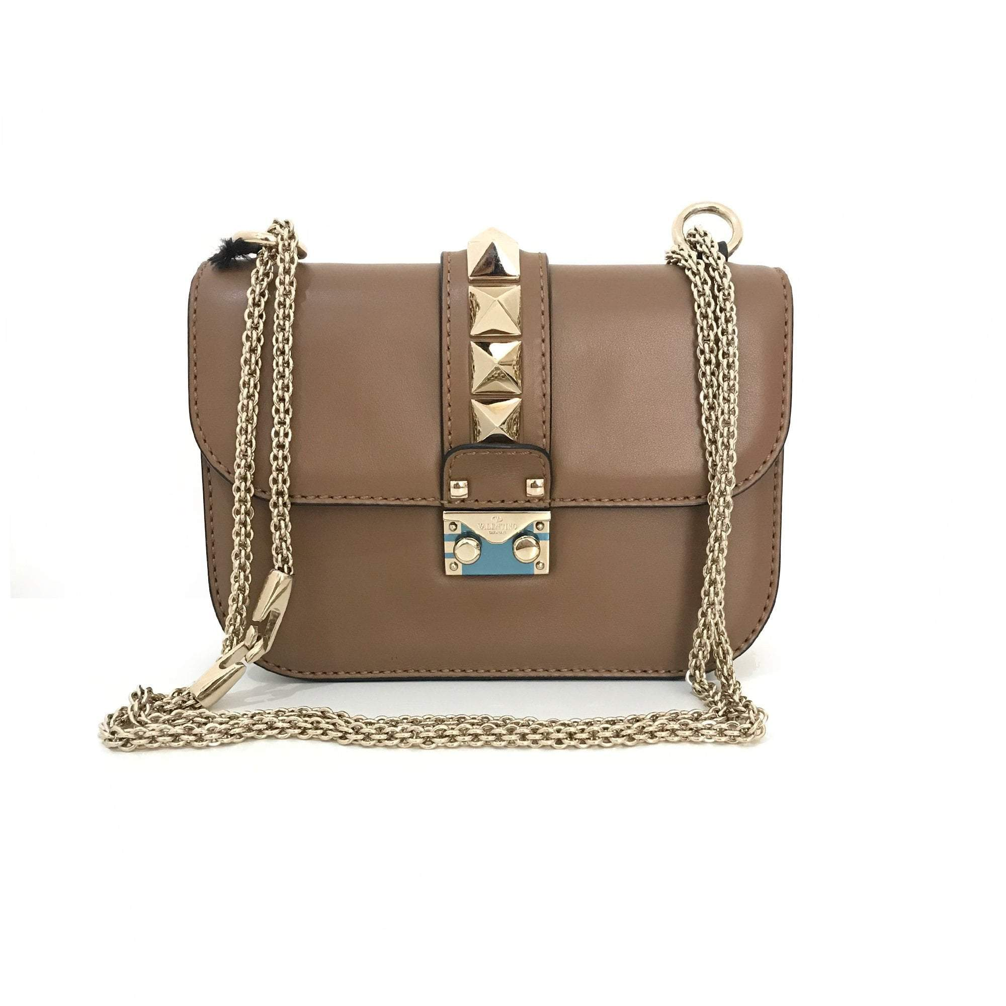 Valentino 'Glam Lock' Small Brown Shoulder bag