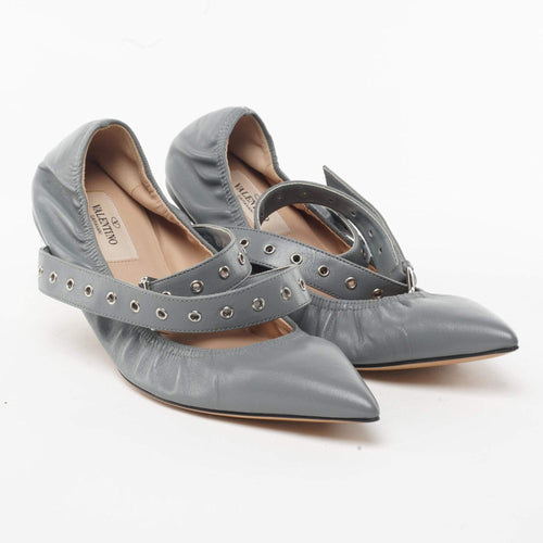 Valentino Love Latch Studded Ankle-Wrap Flats
