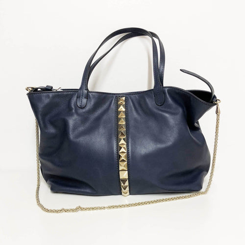 Valentino Navy Blue Leather Rockstud Vavavoom Tote
