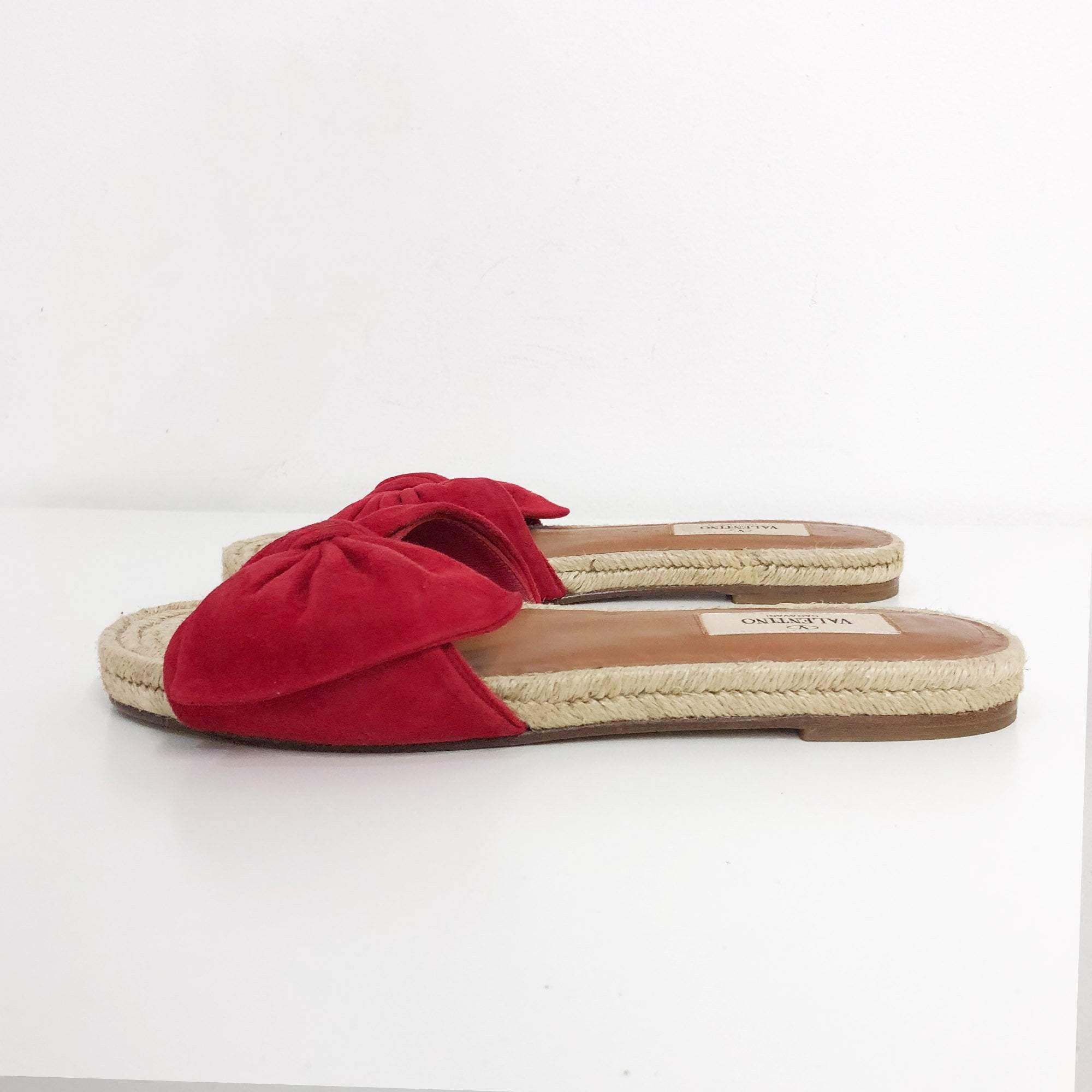 Valentino Red Tropical Bow Espadrille Slide Sandal