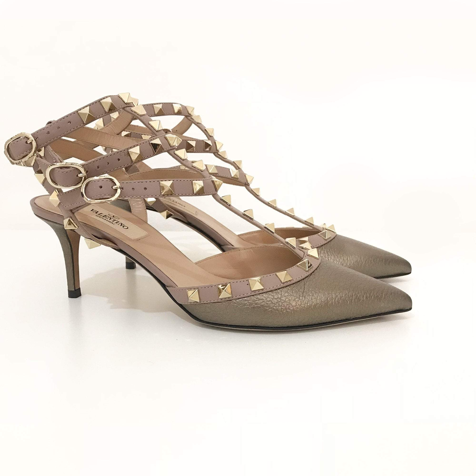Valentino Garavani Rockstud Metallic Textured Leather Pumps