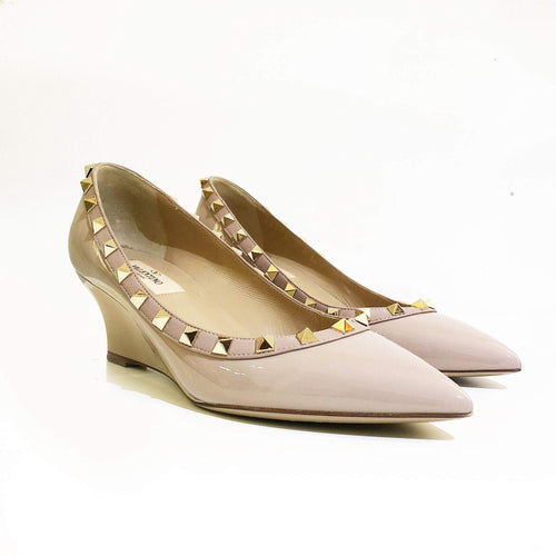 Valentino Rockstud Dusty Pink Patent Leather Wedge Pumps