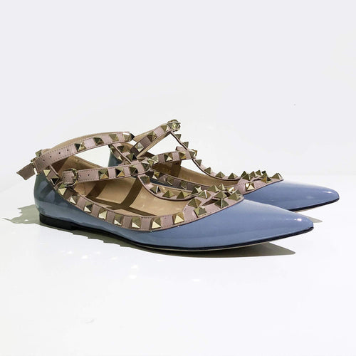 Valentino Rockstud Light Blue Studded T Flats
