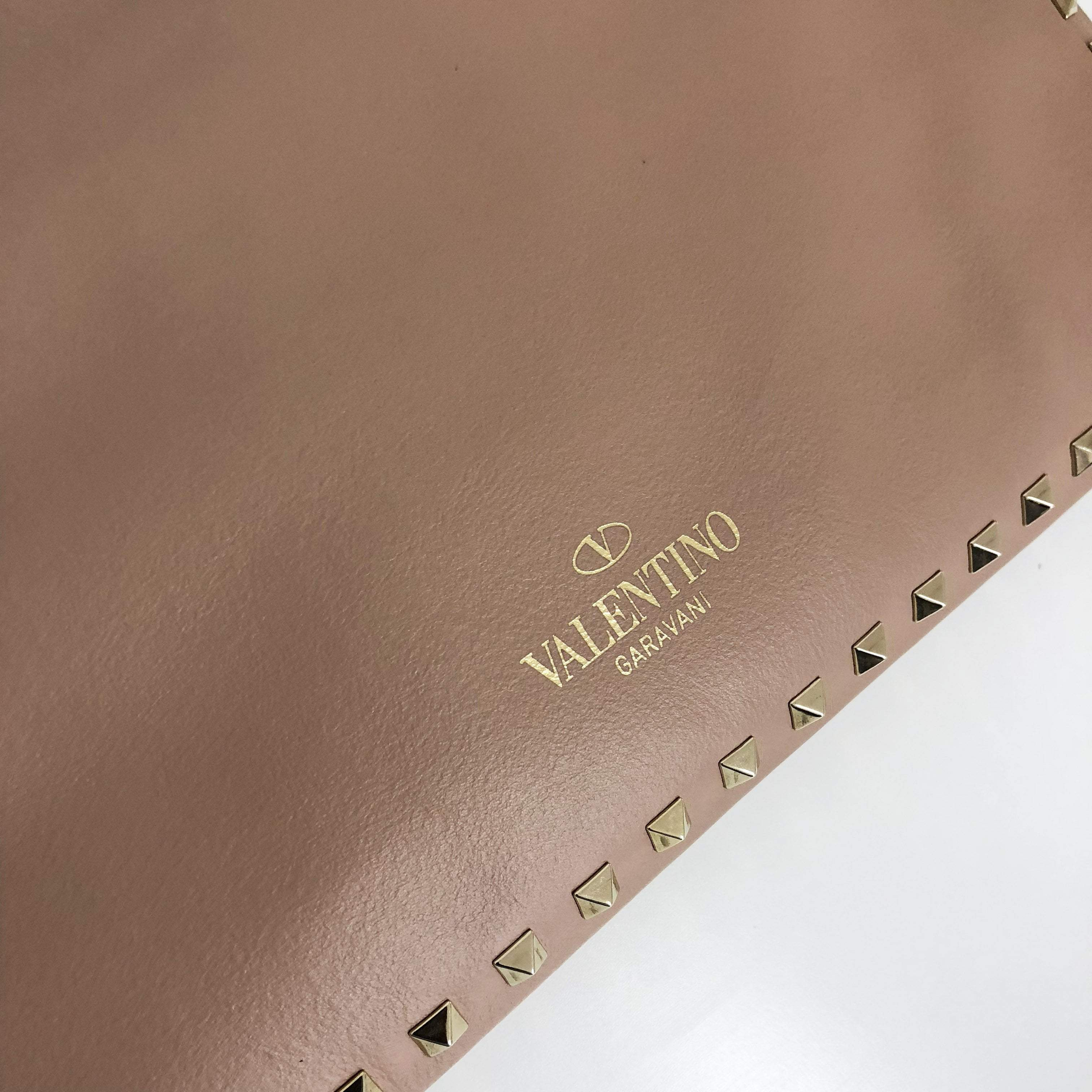 Valentino Rockstud Rectangle Leather Clutch