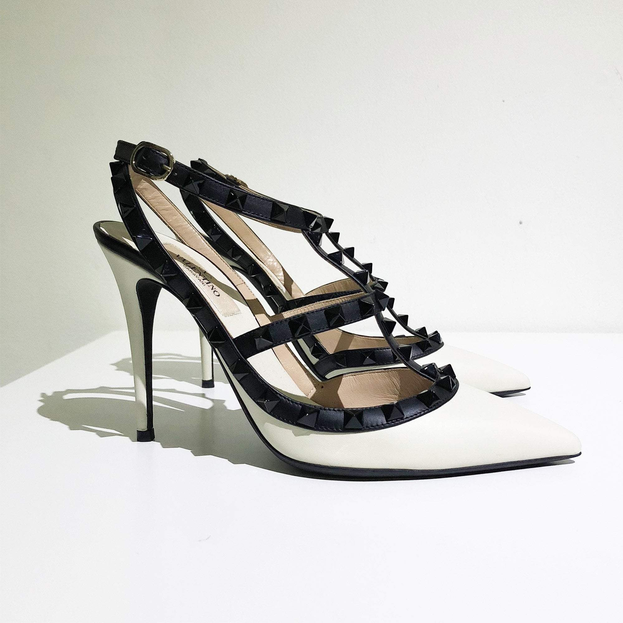 Valentino Black And White Rockstud Pumps
