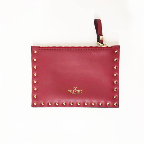 Valentino Rockstud Small Zip Wristlet Clutch Bag,