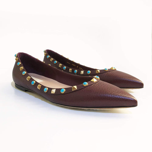 Valentino Leather Rockstud Burgundy Flats