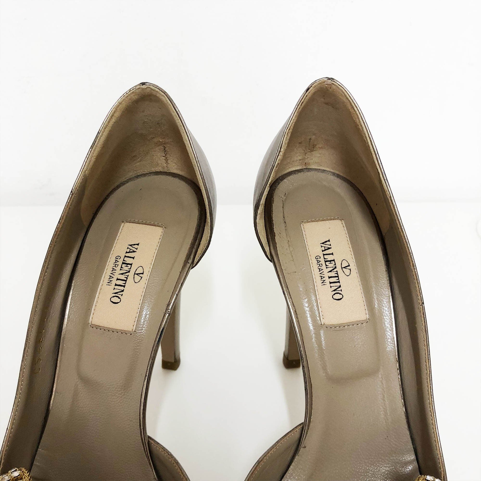 Valentino Bronze Pumps w/ Crystal Bow