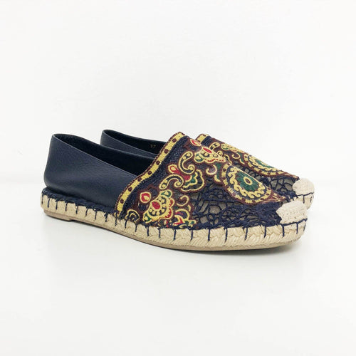 Valentino Blue Embroidered Espadrilles