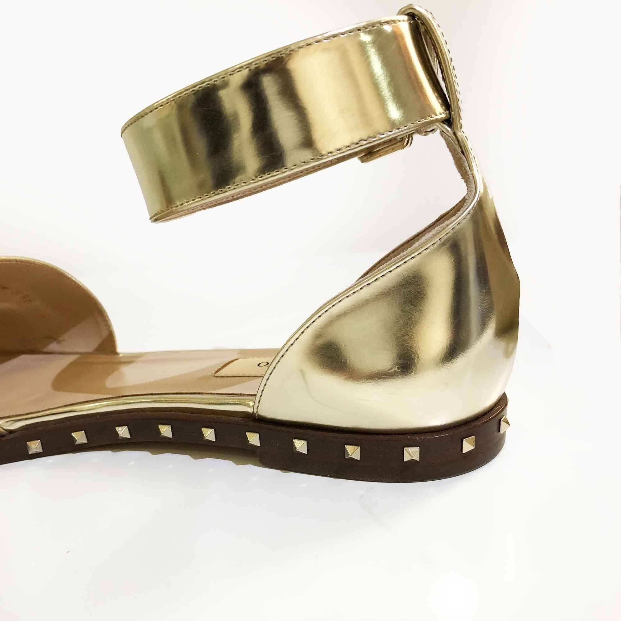 Valentino Gold Ankle Cuff Studded Flats