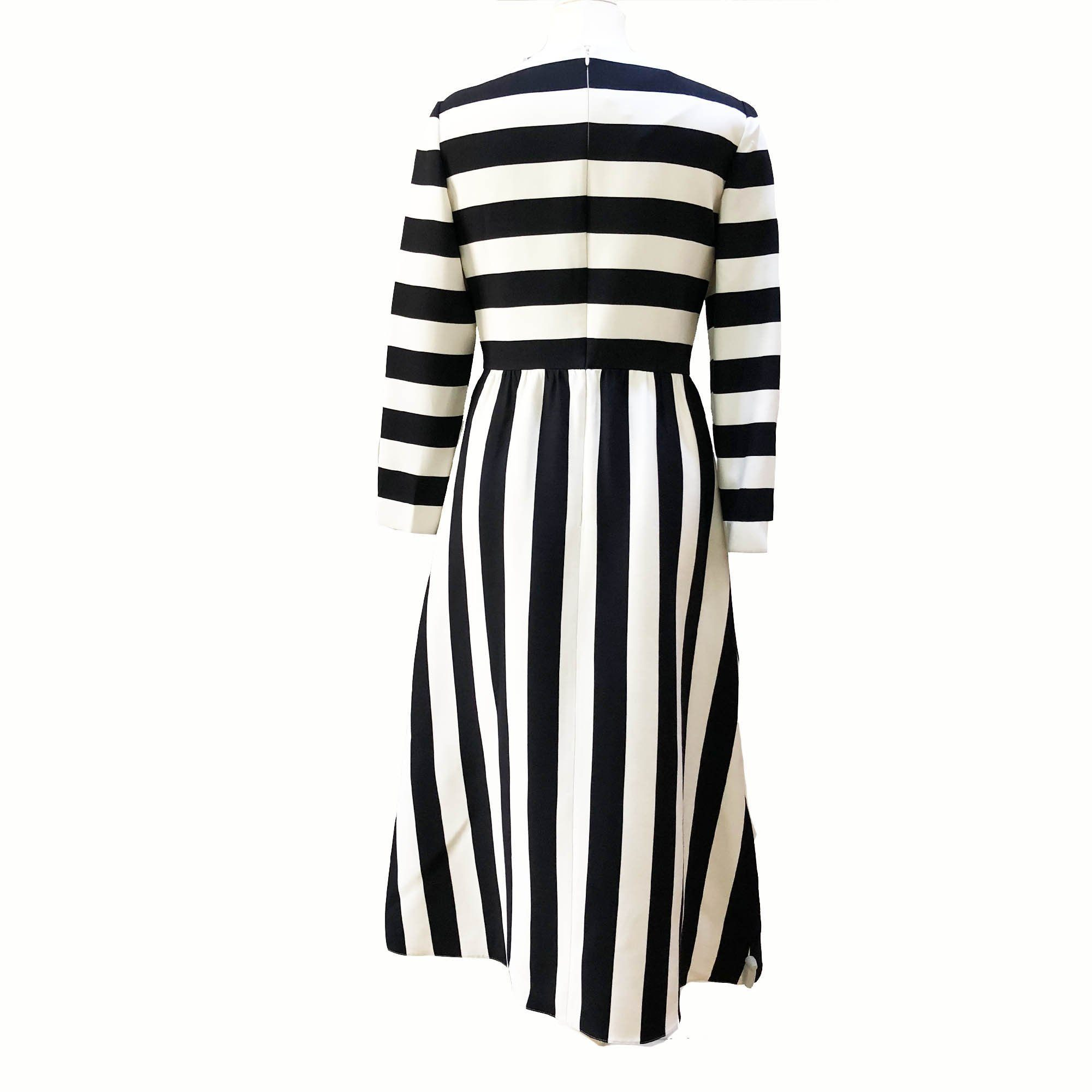 Valentino Large Striped Long-Sleeved Dress