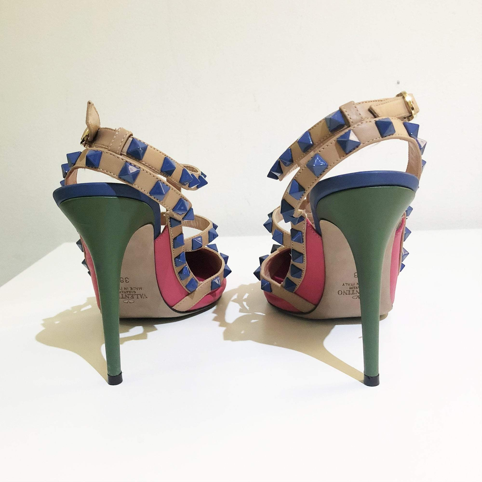 Valentino Rockstud Multicolored Leather T-strap Pumps