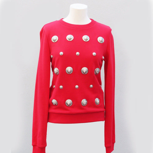 Versus Versace Sweater With Lion Head Studs